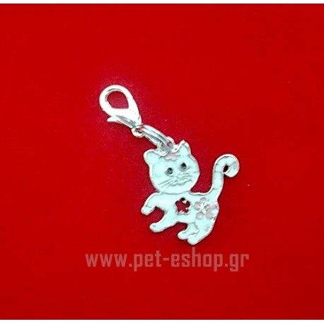 WHITE KITTY BELL CHARM