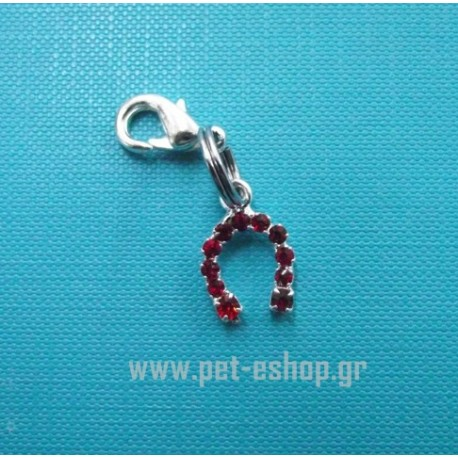 RED HORSESHOE CHARM